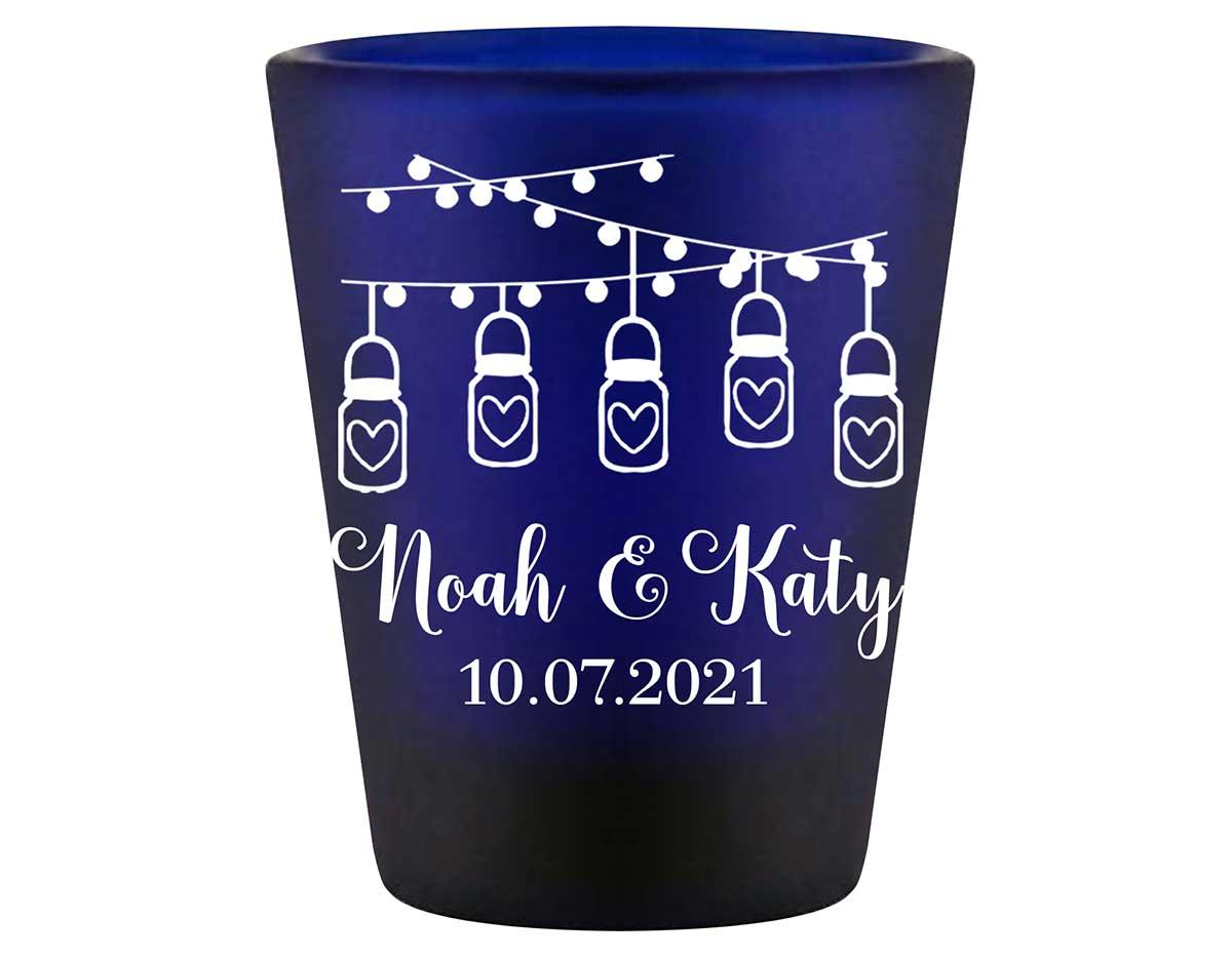 Mason Jar Lights 1A String Lights Standard 1.5oz Blue Shot Glasses Rustic Wedding Gifts for Guests