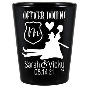 Officer Down 2A Lesbian Cop Wedding Standard 1.5oz Black Shot Glasses Gay Wedding Gifts for Guests