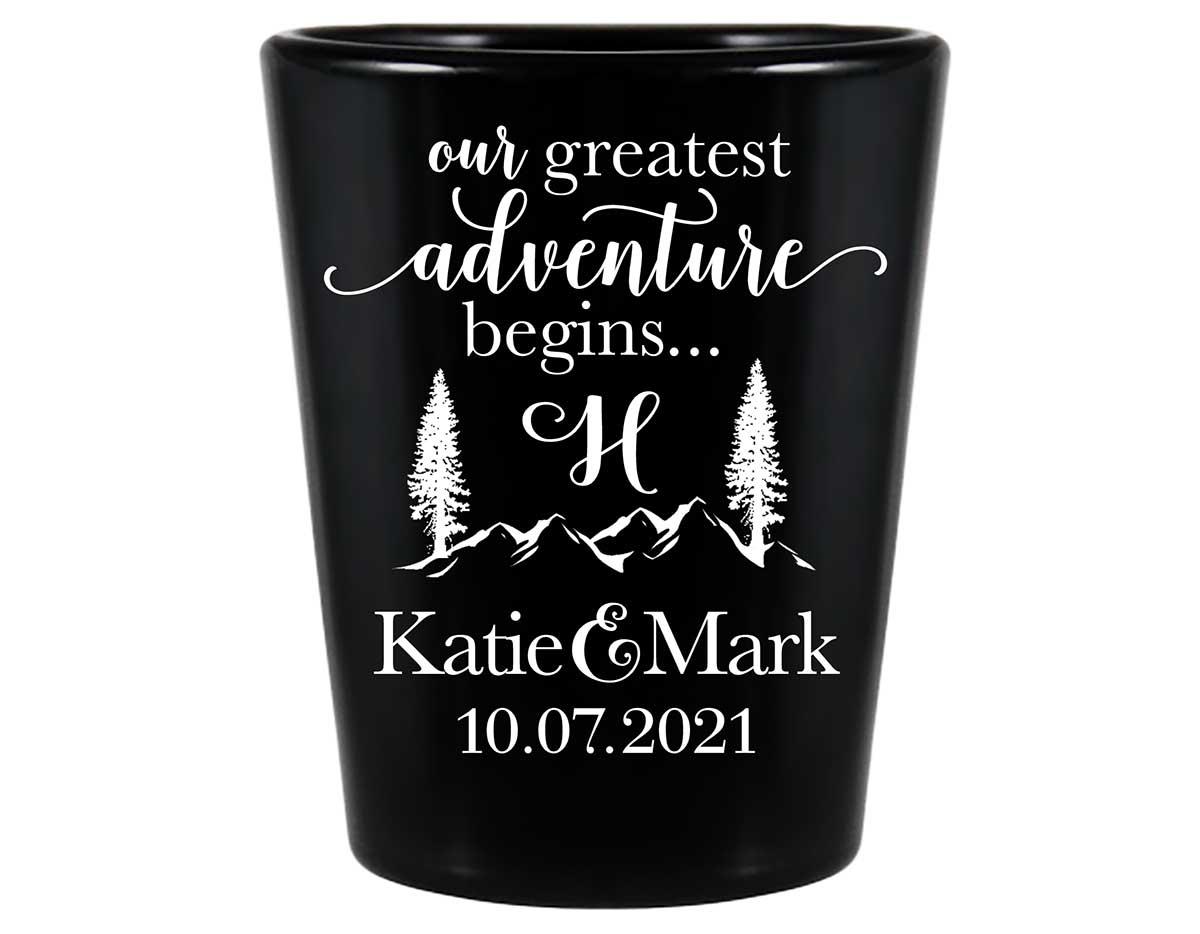 Our Greatest Adventure Begins 1B Standard 1.5oz Black Shot Glasses Destination Wedding Gifts for Guests