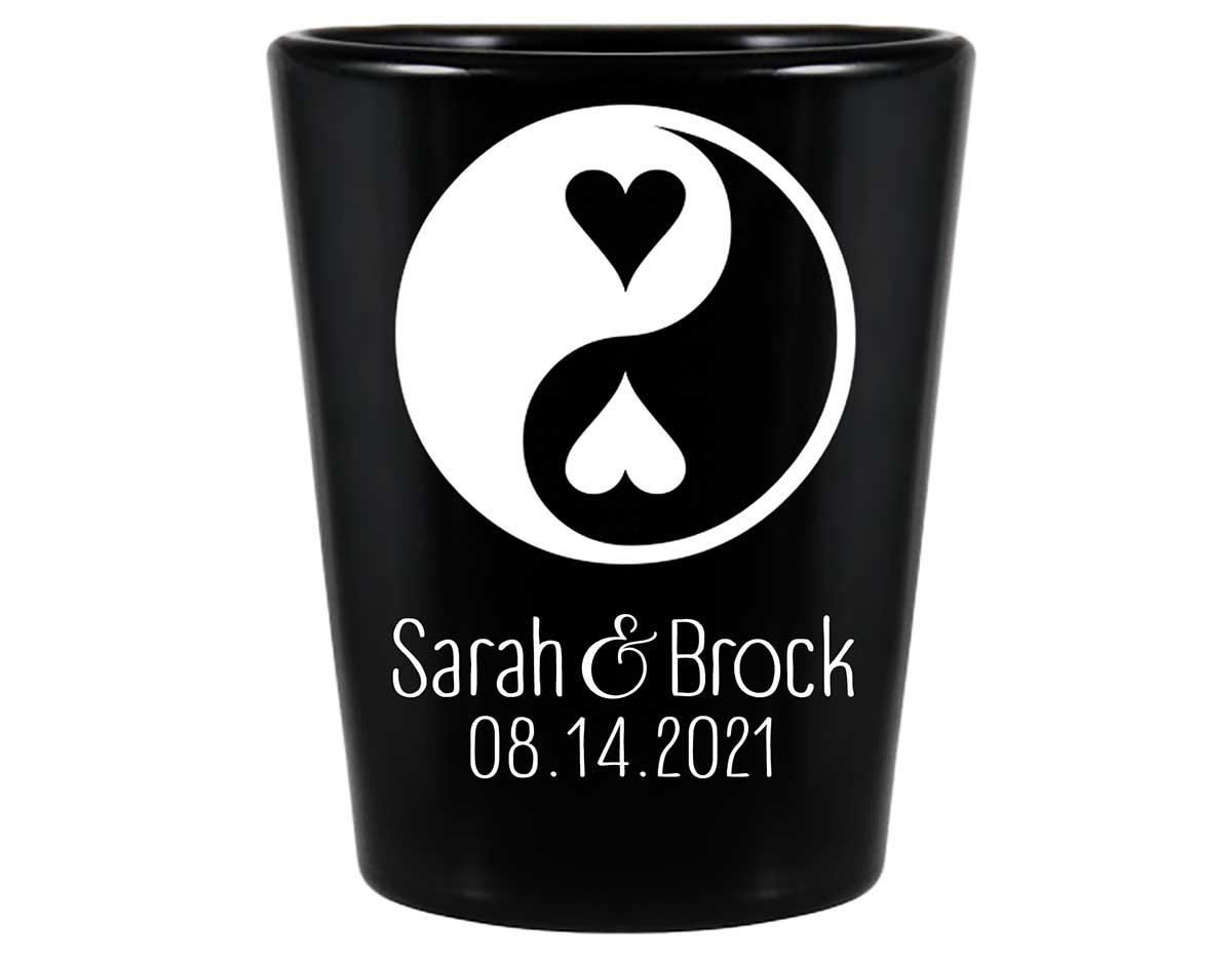 Perfect Half 1B Yin Yang Standard 1.5oz Black Shot Glasses Zen Wedding Gifts for Guests