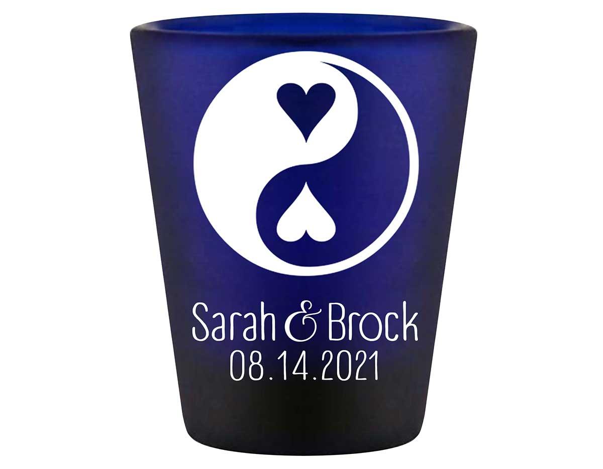 Perfect Half 1B Yin Yang Standard 1.5oz Blue Shot Glasses Zen Wedding Gifts for Guests