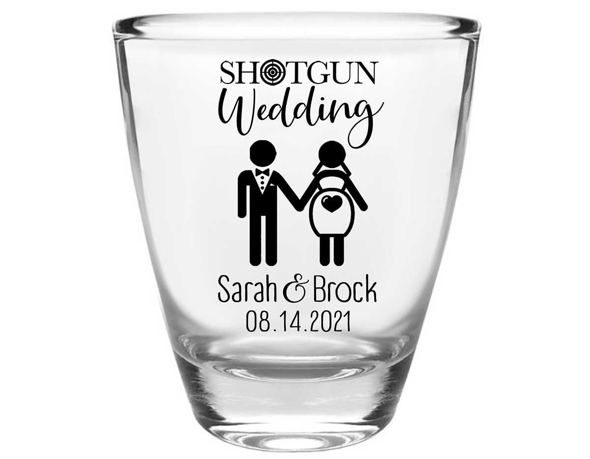 Shotgun Wedding 1A Clear 1oz Round Barrel Shot Glasses Pregnant Bride Wedding Gifts for Guests