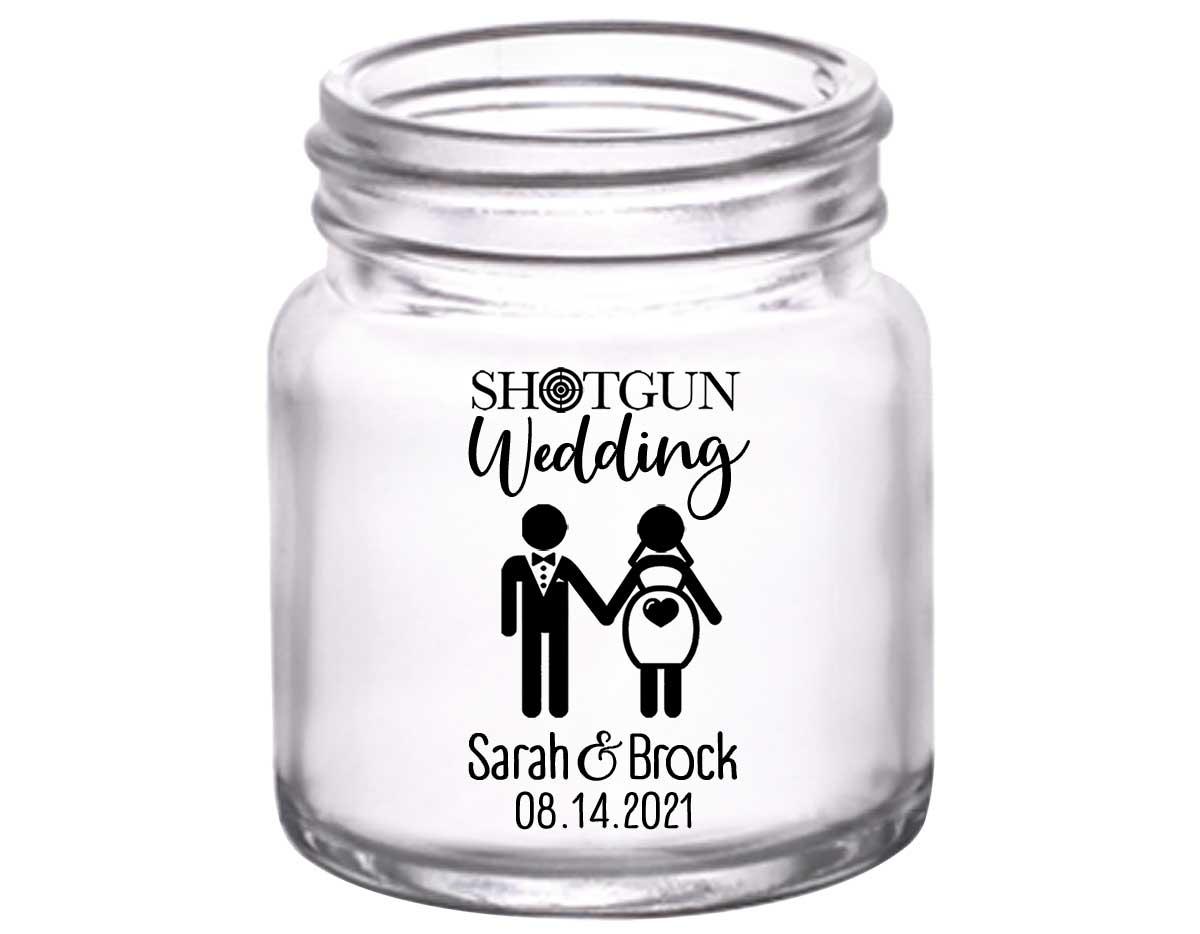 Shotgun Wedding 1A 2oz Mini Mason Shot Glasses Pregnant Bride Wedding Gifts for Guests