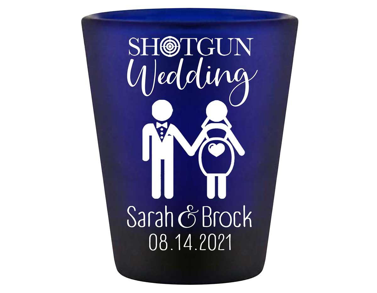 Shotgun Wedding 1A Standard 1.5oz Blue Shot Glasses Pregnant Bride Wedding Gifts for Guests