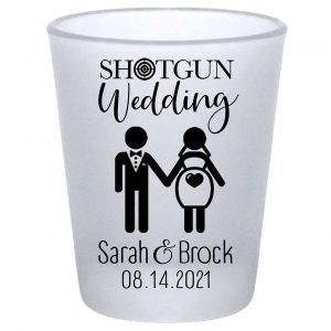 Shotgun Wedding 1A Standard 1.75oz Frosted Shot Glasses Pregnant Bride Wedding Gifts for Guests