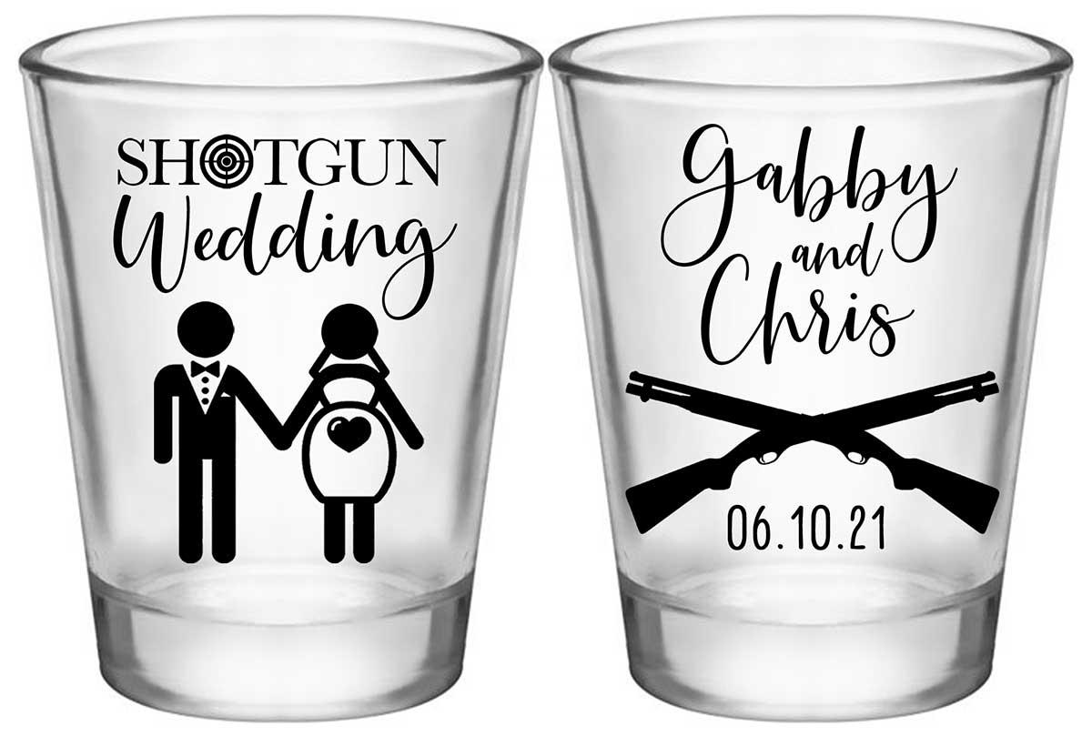 Shotgun Wedding 1A2 Standard 1.75oz Clear Shot Glasses Pregnant Bride Wedding Gifts for Guests