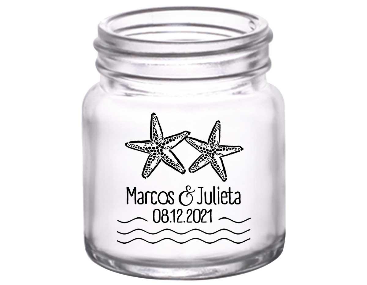 Starfish 2A 2oz Mini Mason Shot Glasses Beach Wedding Gifts for Guests