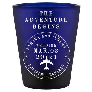 The Adventure Begins 2A Travel Stamp Standard 1.5oz Blue Shot Glasses Destination Wedding Gifts for Guests