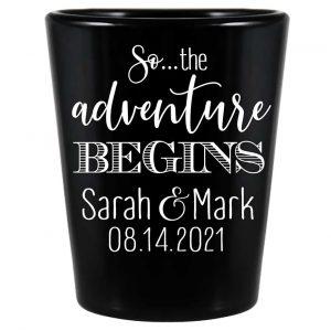 The Adventure Begins 3A Standard 1.5oz Black Shot Glasses Destination Wedding Gifts for Guests