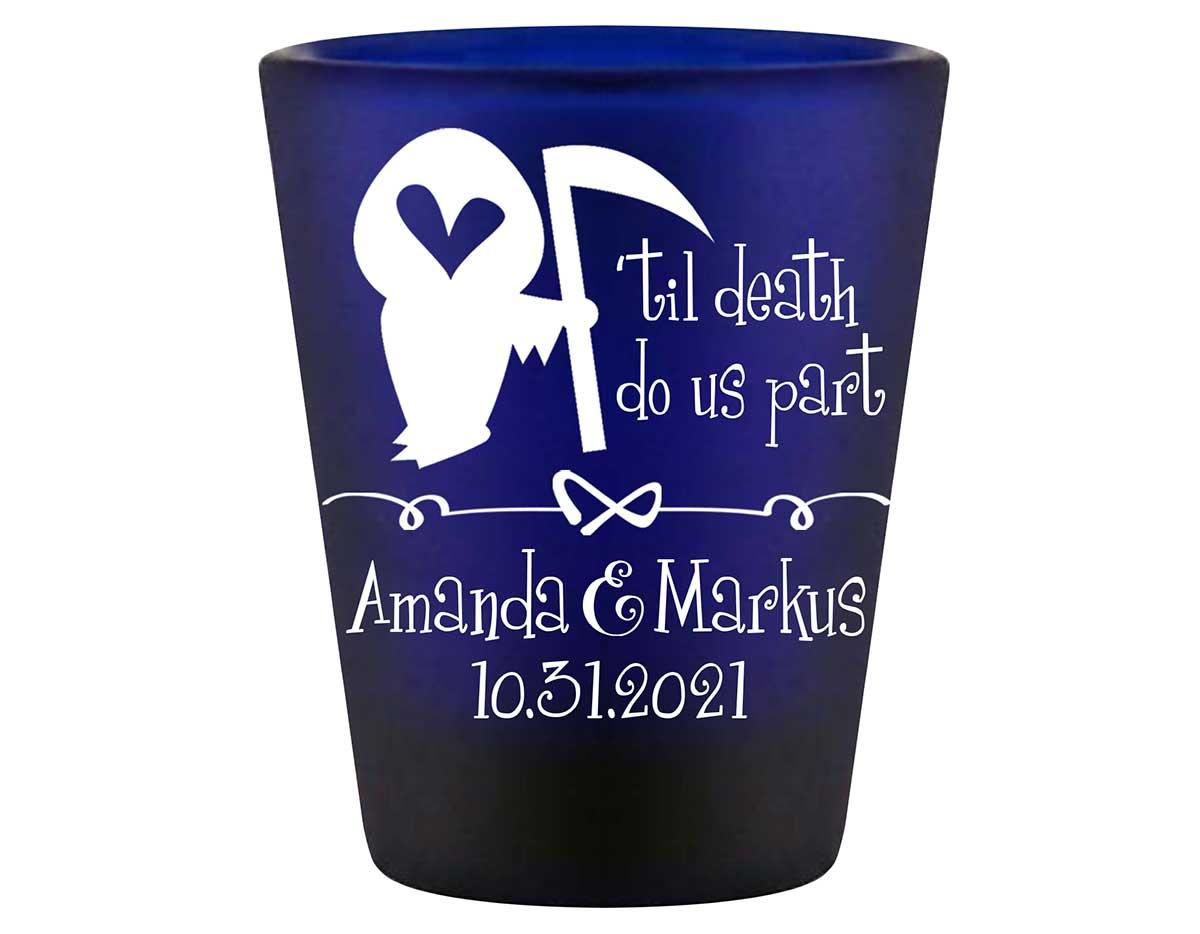 Til Death Do Us Part 1A Grim Reaper Standard 1.5oz Blue Shot Glasses Halloween Wedding Gifts for Guests