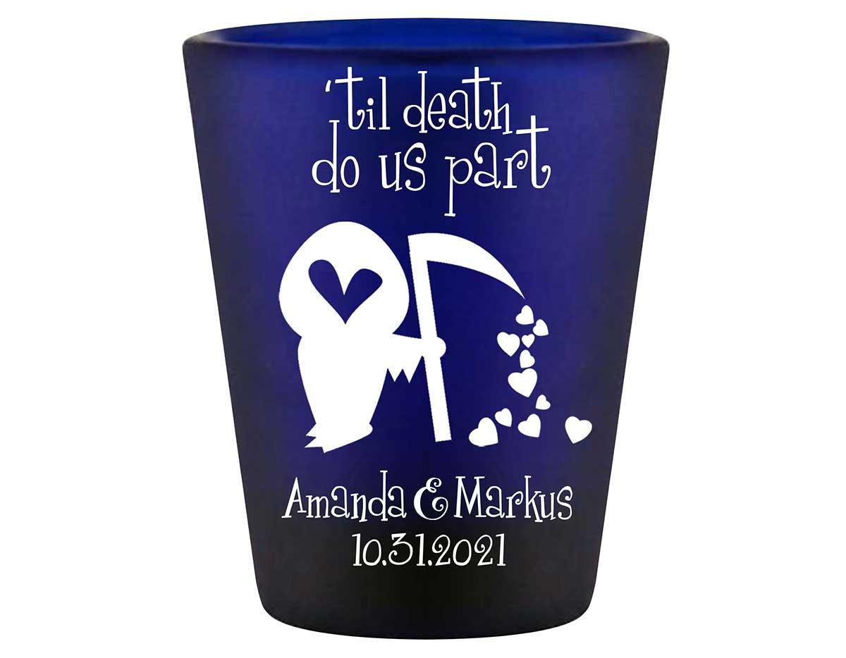 Til Death Do Us Part 1B Grim Reaper Standard 1.5oz Blue Shot Glasses Halloween Wedding Gifts for Guests