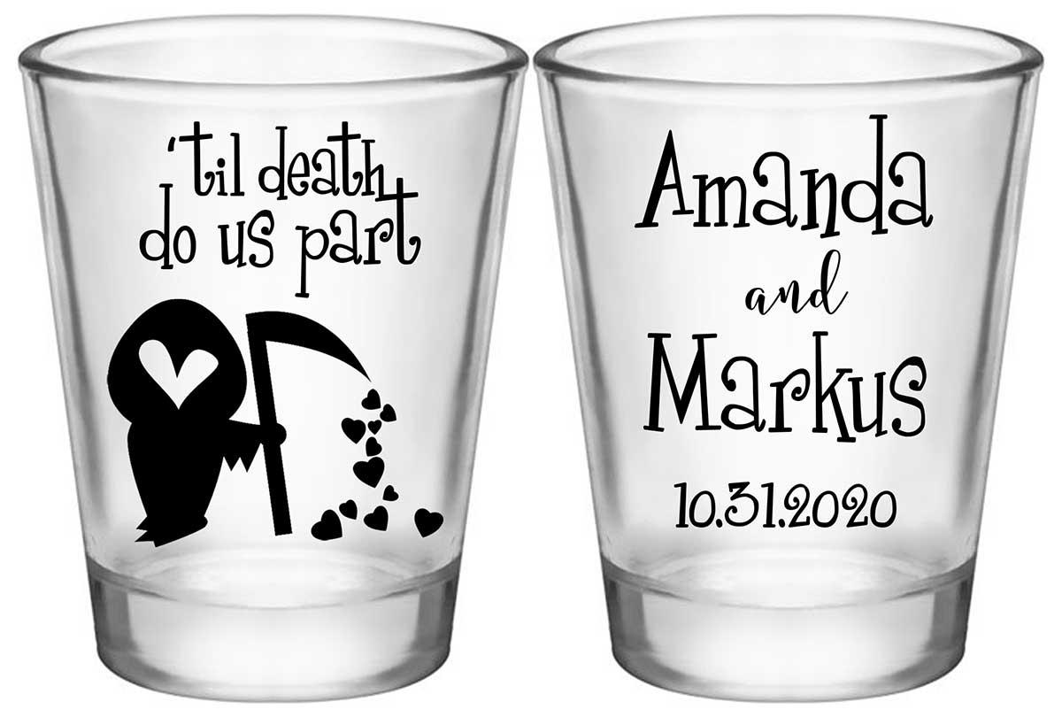 Til Death Do Us Part 1B2 Grim Reaper Standard 1.75oz Clear Shot Glasses Halloween Wedding Gifts for Guests