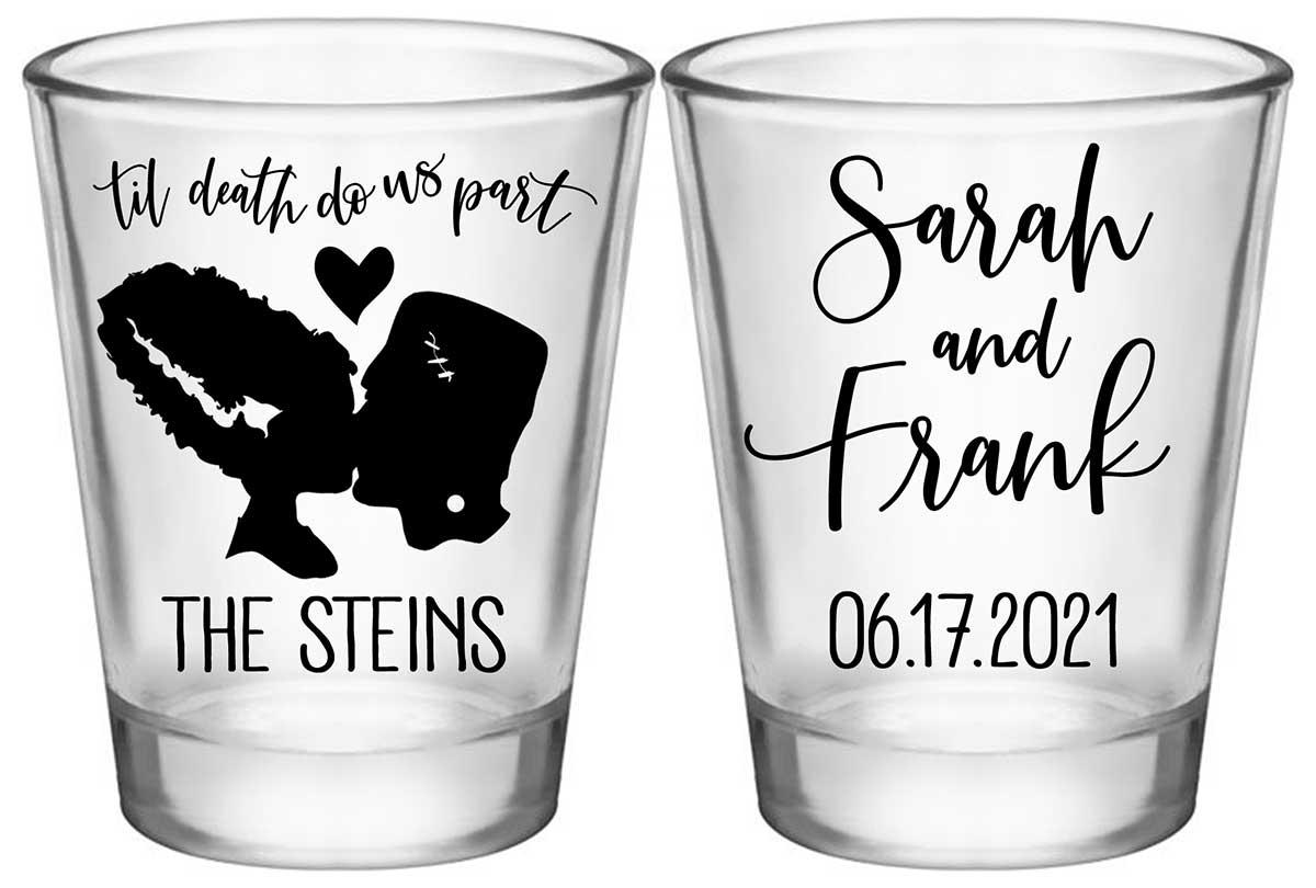 Til Death Do Us Part 2A2 Frankenstein Standard 1.75oz Clear Shot Glasses Halloween Wedding Gifts for Guests