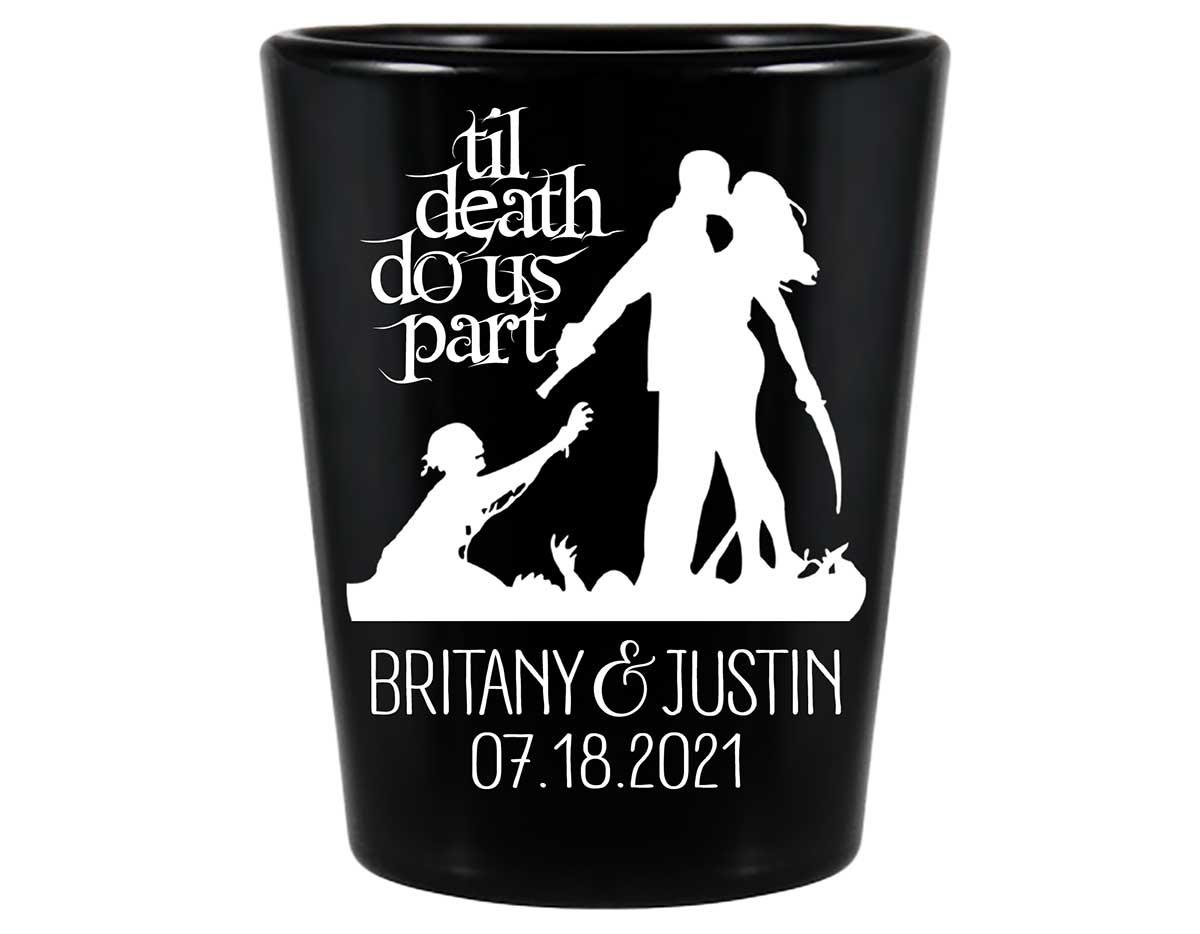 Til Death Do Us Part 3A Zombies Standard 1.5oz Black Shot Glasses Halloween Wedding Gifts for Guests