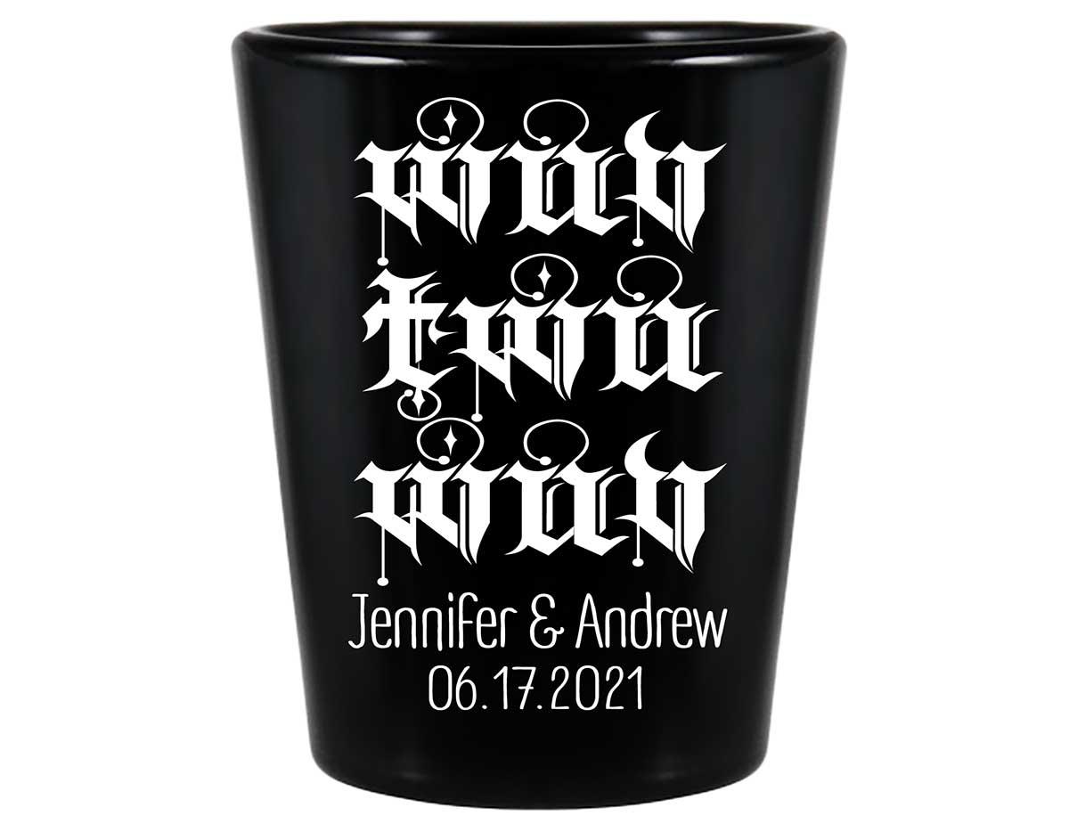 Wuv Twu Wuv 1A Standard 1.5oz Black Shot Glasses Princess Bride Wedding Gifts for Guests